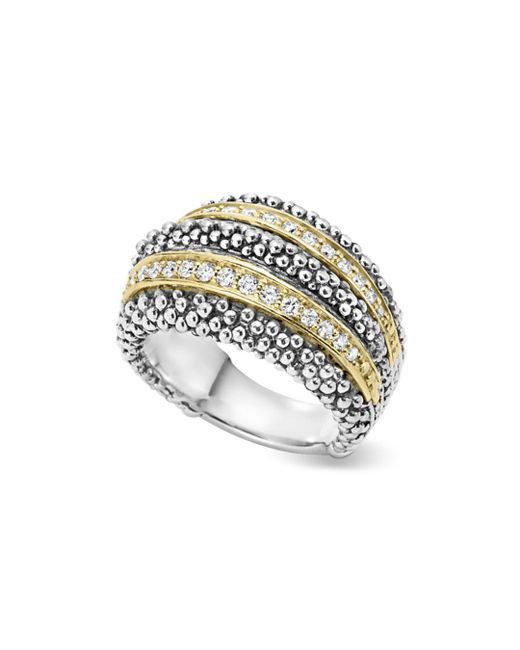 Lagos - Metallic Sterling Silver And 18k Gold Diamond Caviar Ring - Lyst