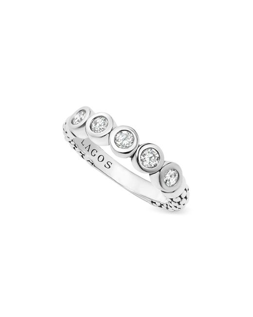 Lagos - White Sterling Silver Five Diamond Stacking Ring - Lyst