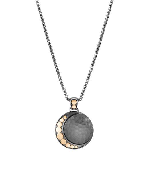 John Hardy - Metallic Blackened Sterling Silver & 18k Bonded Gold Dot Hammered Moon Pendant Necklace - Lyst