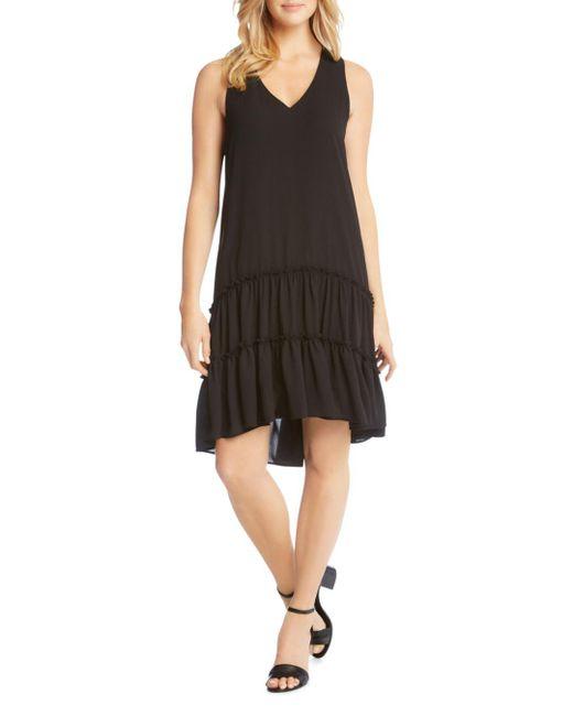 Karen Kane - Black Tiered Drop-waist Ruffle Dress - Lyst