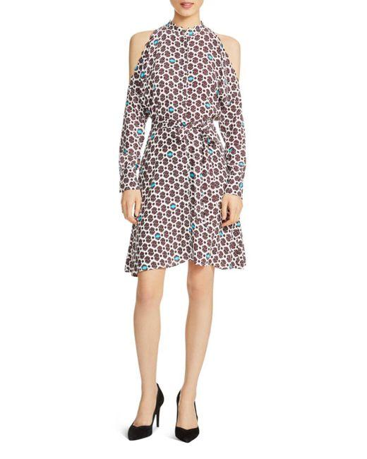 Maje - Multicolor Ralinka Printed Cold-shoulder Dress - Lyst