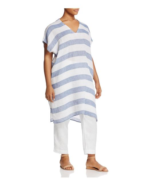Eileen Fisher | Blue V-neck Stripe Tunic | Lyst