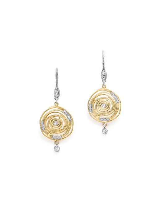 Meira T | Metallic 14k White And Yellow Gold Spiral Circle Diamond Disc Earrings | Lyst