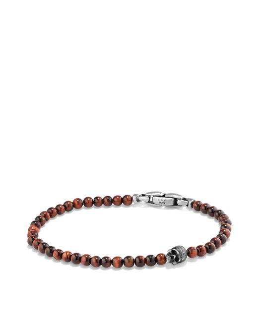 David Yurman | Metallic Spiritual Beads Skull Bracelet With Red Tiger's Eye In Sterling Silver | Lyst