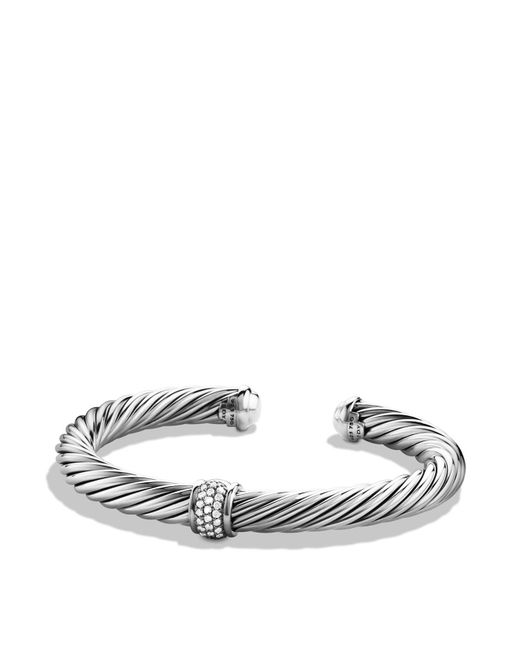 David Yurman | Metallic Cable Classics Bracelet With Diamonds & White Gold | Lyst
