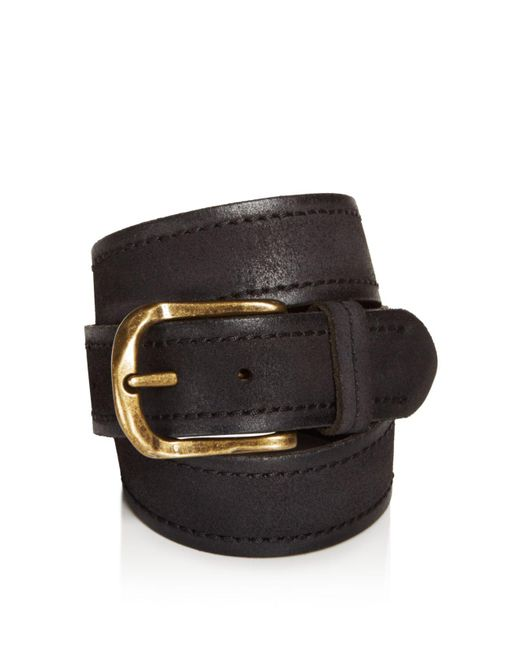 John Varvatos   Black Textured Suede Stitch Belt for Men   Lyst