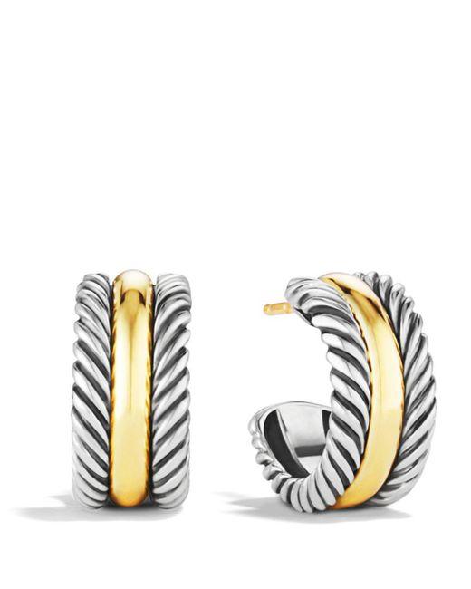 David Yurman - Metallic Cable Classics Hoop Earrings With Gold - Lyst