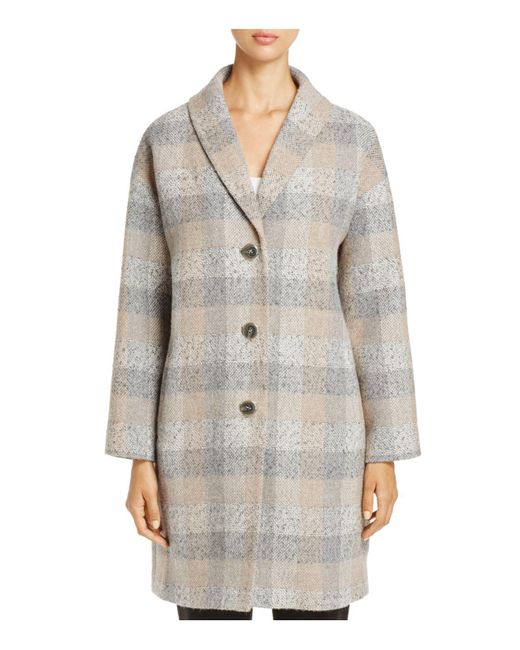 Eileen Fisher | Gray Check Print Wool Tweed Coat | Lyst