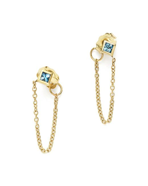 Zoe Chicco - Metallic 14k Yellow Gold Draped Chain Stud Earrings With Aquamarine - Lyst