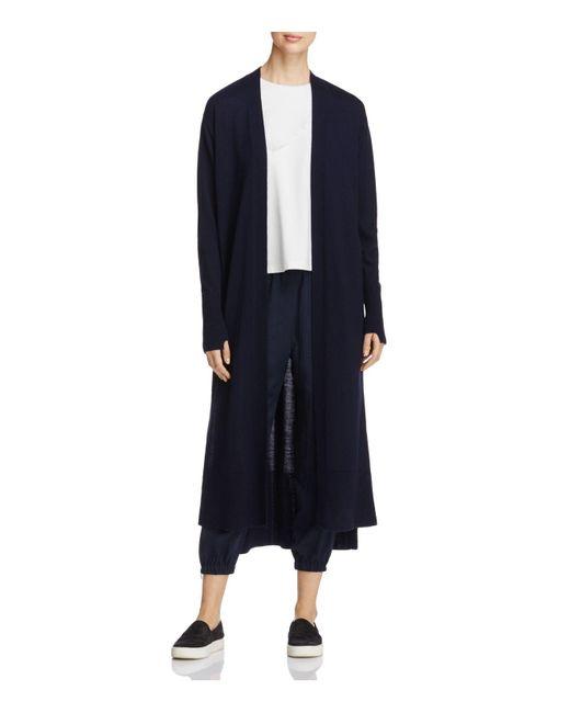 DKNY | Blue Shawl Collar Open Front Wool Cardigan | Lyst