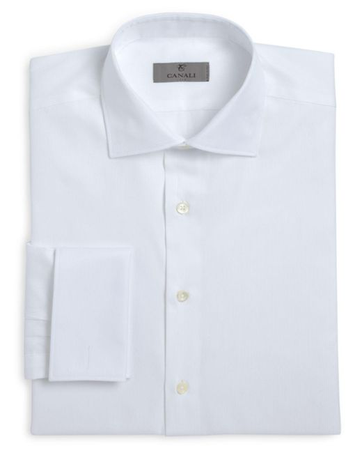 Canali - Gray Herringbone French Cuff Classic Fit Dress Shirt for Men - Lyst