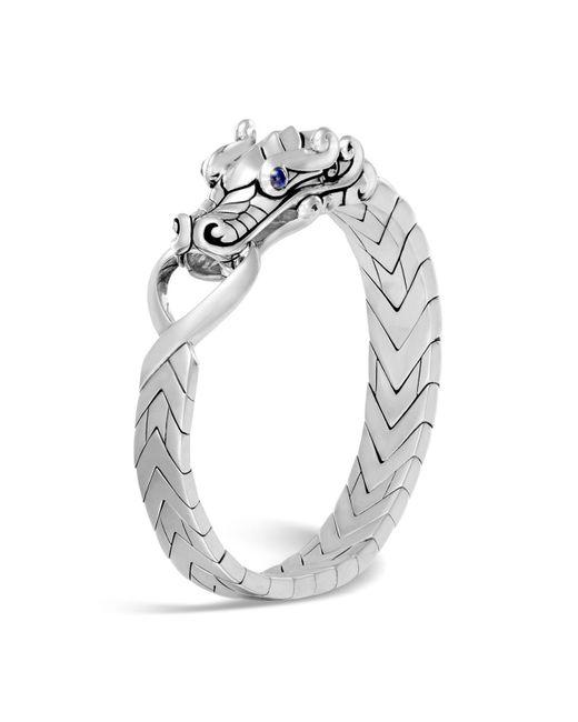John Hardy | Metallic Men's Sterling Silver Legends Naga Bracelet With Sapphire Eyes for Men | Lyst