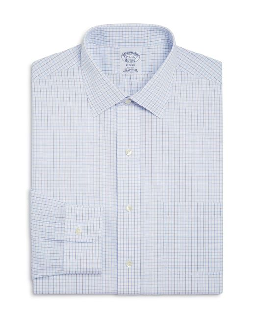 Brooks Brothers - Blue Regent Split Double Window Check Classic Fit Dress Shirt for Men - Lyst