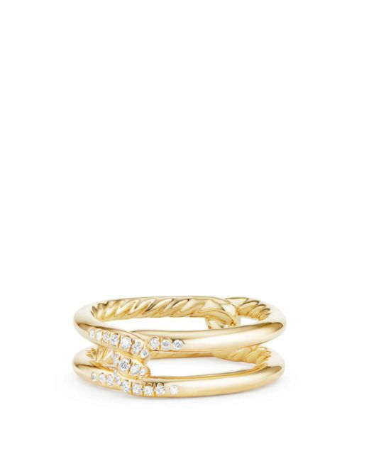 David Yurman - Metallic Continuance Knot Ring With Diamonds In 18k Gold - Lyst