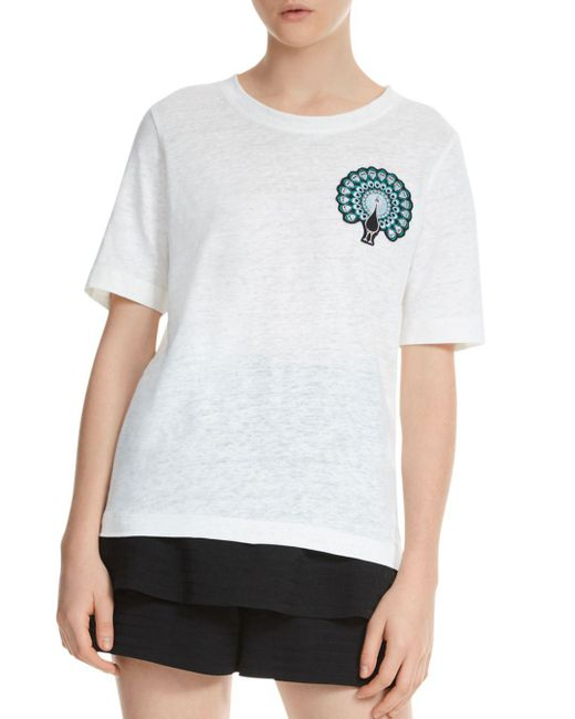 Maje - White Tina Peacock Embroidered Tee - Lyst