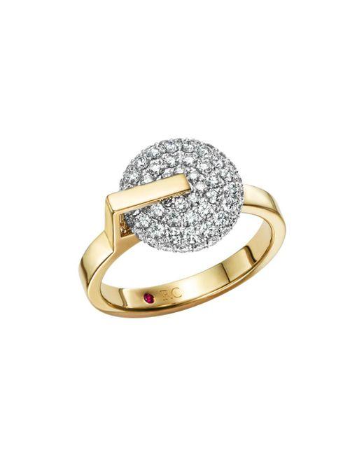Roberto Coin - Metallic 18k White & Yellow Gold Diamond Disk Ring - Lyst