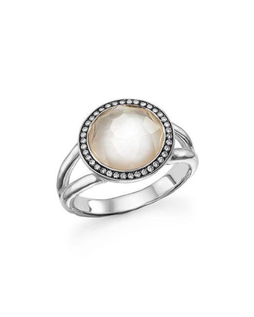 Ippolita - Metallic Sterling Silver Stella Ring In Mother-of-pearl With Diamonds - Lyst