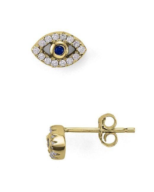 Aqua - Metallic Evil Eye Stud Earrings - Lyst