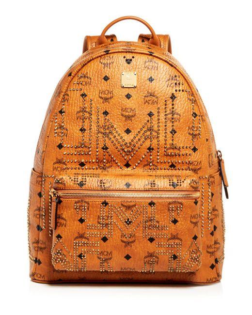 MCM - Orange Stark Gunta Medium Studded Backpack for Men - Lyst