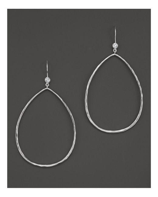 Ippolita | Metallic Sterling Silver Large Open Teardrop Earrings With Diamonds | Lyst