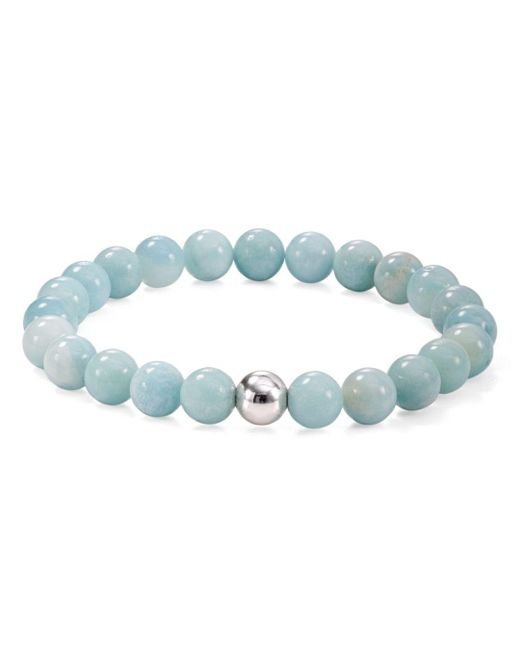 Aqua - Metallic Sterling Silver & Stone Beaded Stretch Bracelet - Lyst