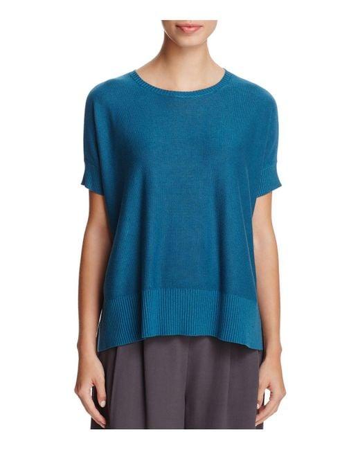 Eileen Fisher | Blue Short Sleeve A-line Sweater | Lyst
