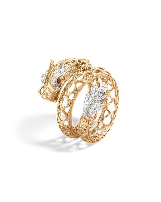 John Hardy | Metallic 18k Gold Naga Diamond Pavé Dragon Coil Ring With African Ruby Eyes | Lyst