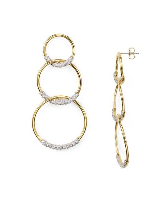 Nadri - Metallic Pavé Tri Circle Drop Earrings - Lyst