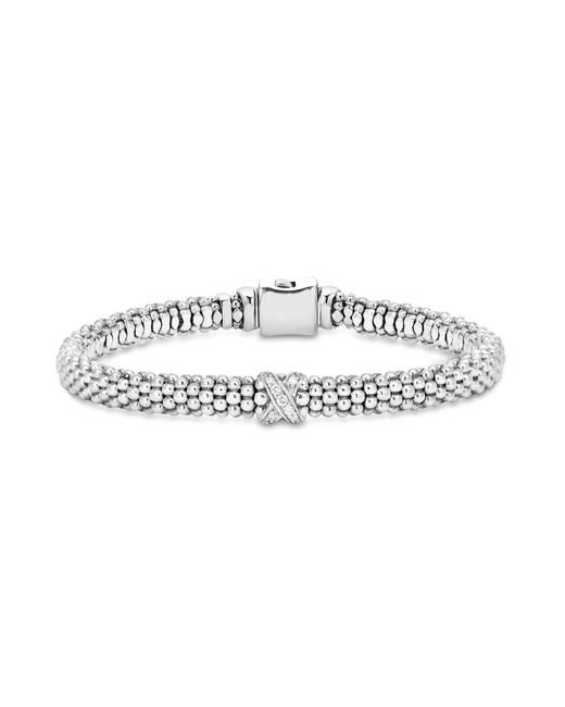 "Lagos | Metallic Sterling Silver ""x Collection"" Rope Bracelet With Diamonds 