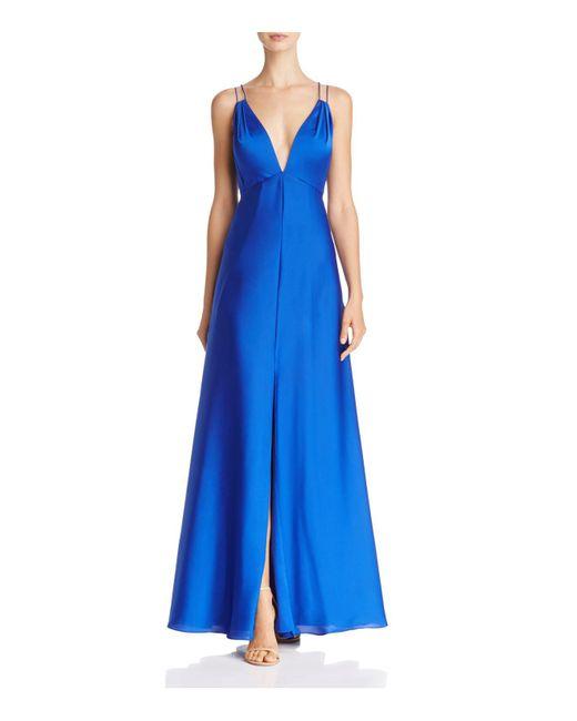 Aidan Mattox   Blue Plunge Neck Gown   Lyst