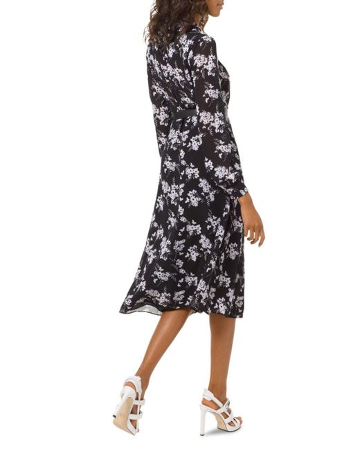 80d22be0ccc ... MICHAEL Michael Kors - Black Floral - Print Midi Dress - Lyst