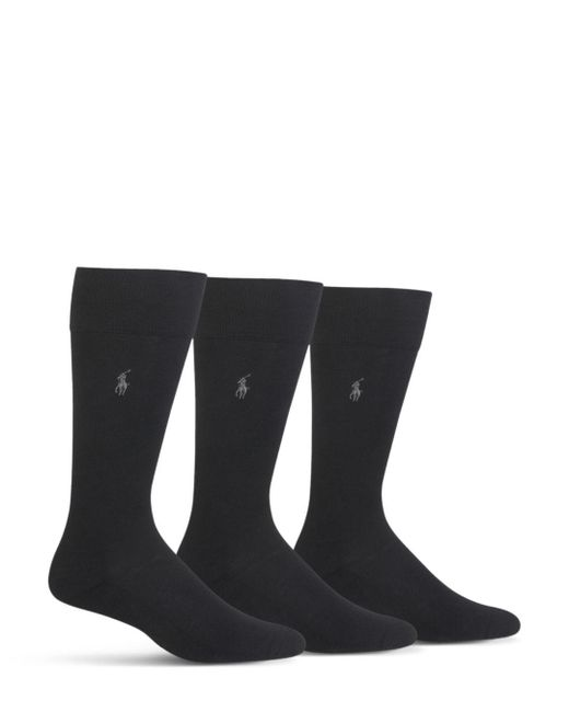 Polo Ralph Lauren - Black Cushioned Crew Socks - Pack Of 3 for Men - Lyst