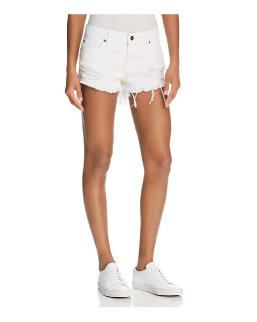 Pistola | Gigi Distressed Cutoff Denim Shorts In White Lies | Lyst