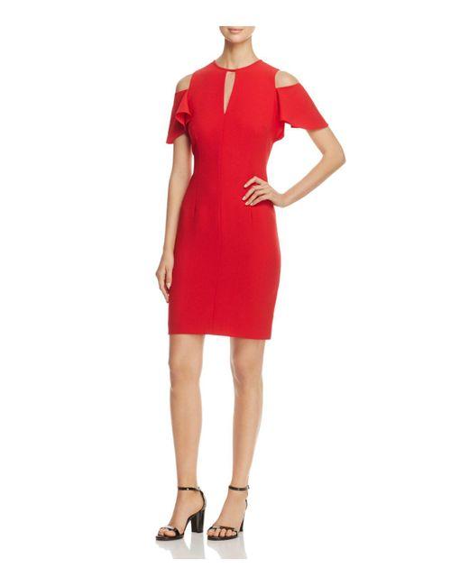 Elie Tahari - Red Oleandra Cold-shoulder Sheath Dress - Lyst