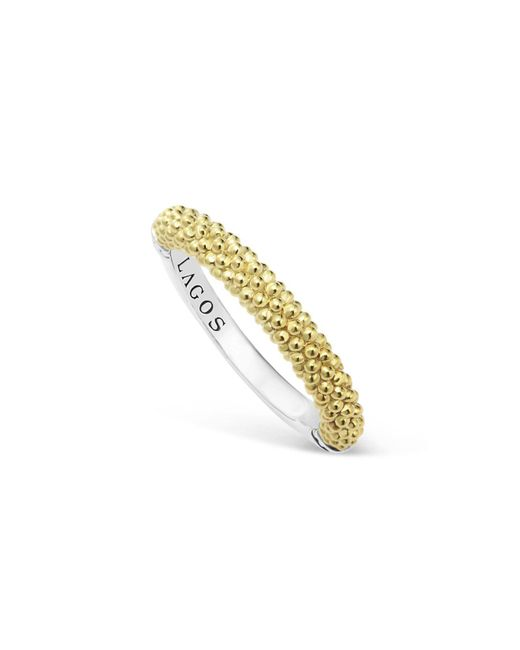 Lagos | Metallic Sterling Silver And 18k Gold Caviar Beaded Stacking Ring | Lyst