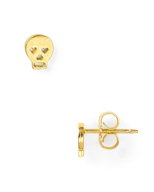 Dogeared - Metallic Little Things Mini Gold Skull Stud Earrings - Lyst