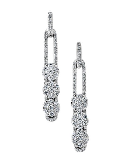 Hulchi Belluni - 18k White Gold Tresore Diamond Linear Earrings - Lyst