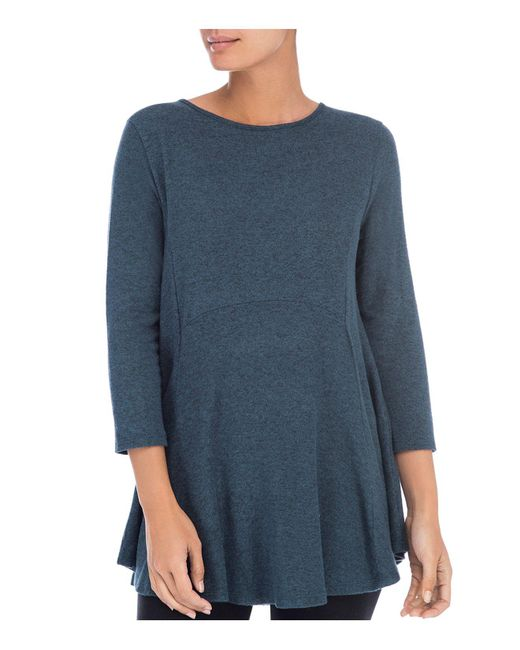 B Collection By Bobeau - Blue Brushed Tunic Top - Lyst