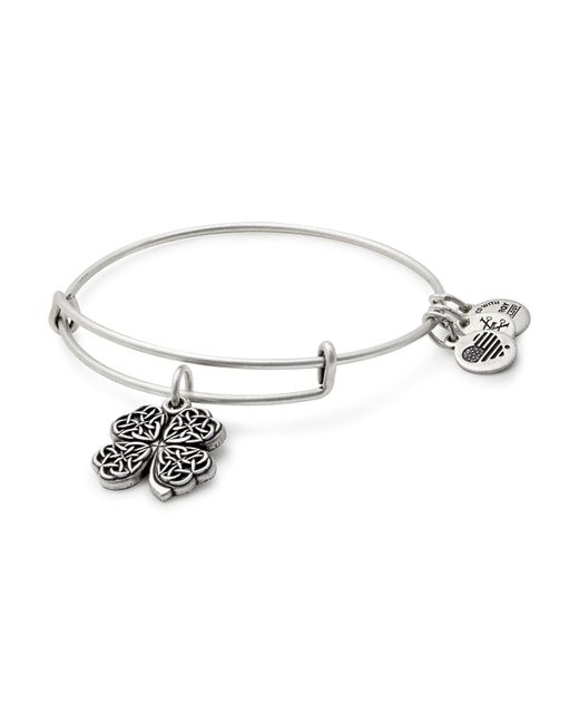 ALEX AND ANI - Metallic Four Leaf Clover Expandable Wire Bangle - Lyst