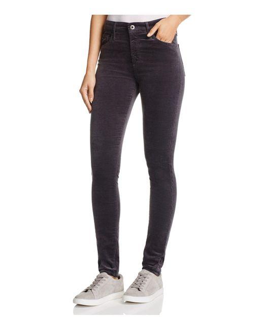 AG Jeans - Blue Farrah Velvet Skinny Jeans In Rich Mercury - Lyst