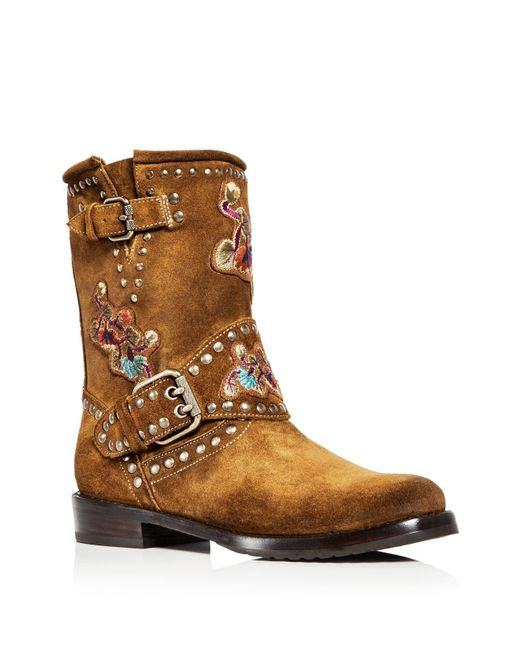 Frye - Brown Women's Nat Flower Embellished Suede Engineer Boots - Lyst