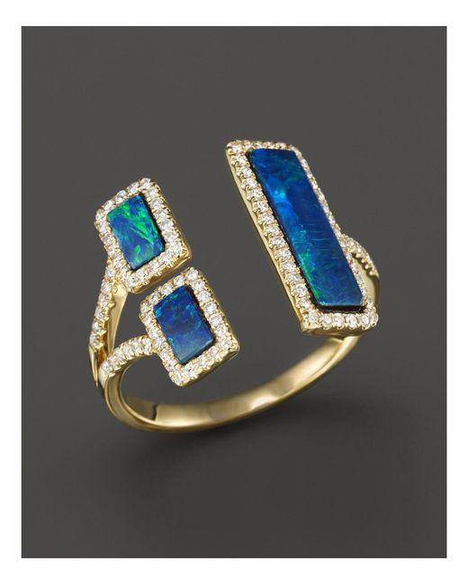 Meira T | Blue Yellow Gold Opal Double Bar Open Ring | Lyst
