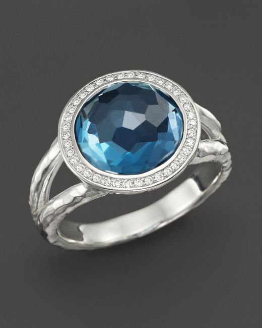 Ippolita - Metallic Sterling Silver Stella Mini Lollipop Ring In London Blue Topaz With Diamonds - Lyst