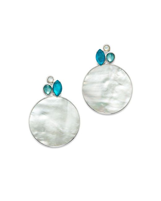 Ippolita - Metallic Sterling Silver Wonderland Mother-of-pearl & Clear Quartz Doublet Cluster & Round Drop Earrings In Bermuda - Lyst