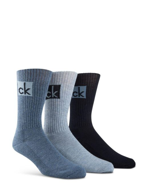 Calvin Klein - Blue Cushioned Athleasure Socks - Pack Of 3 for Men - Lyst
