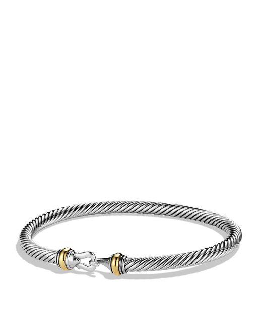 David Yurman - Metallic Cable Buckle Bracelet With 18k Gold - Lyst