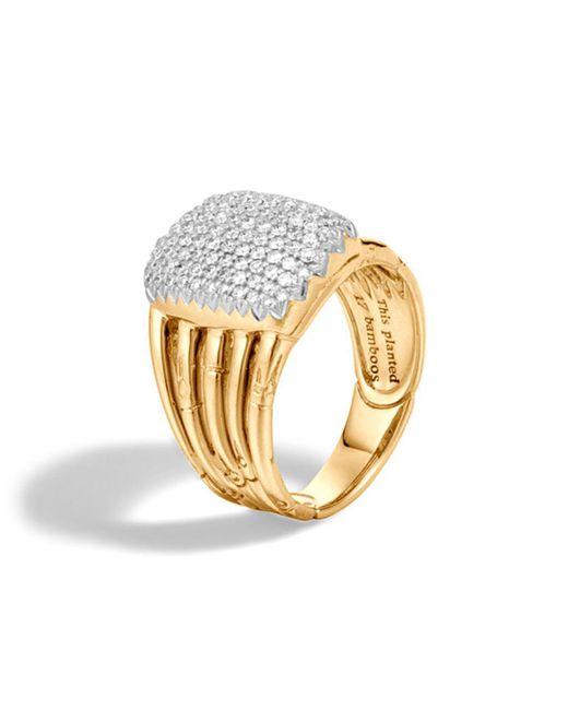 John Hardy - Metallic Bamboo 18k Yellow Gold Diamond Pavé Five Row Ring - Lyst