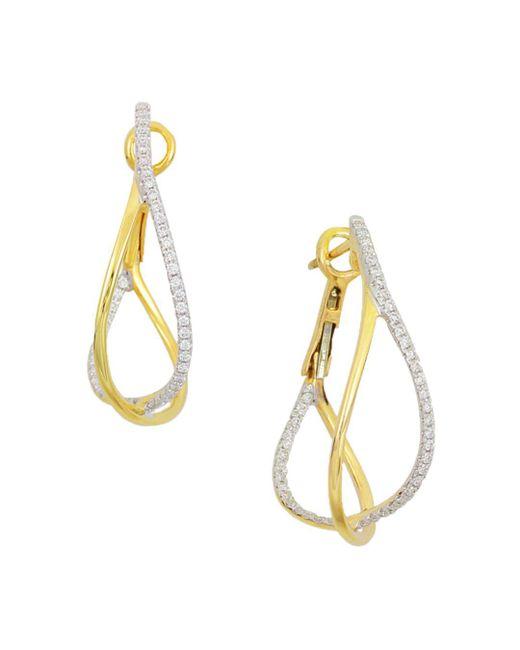 Frederic Sage - Metallic 18k Yellow Gold Crossover Diamond Hoop Earrings - Lyst