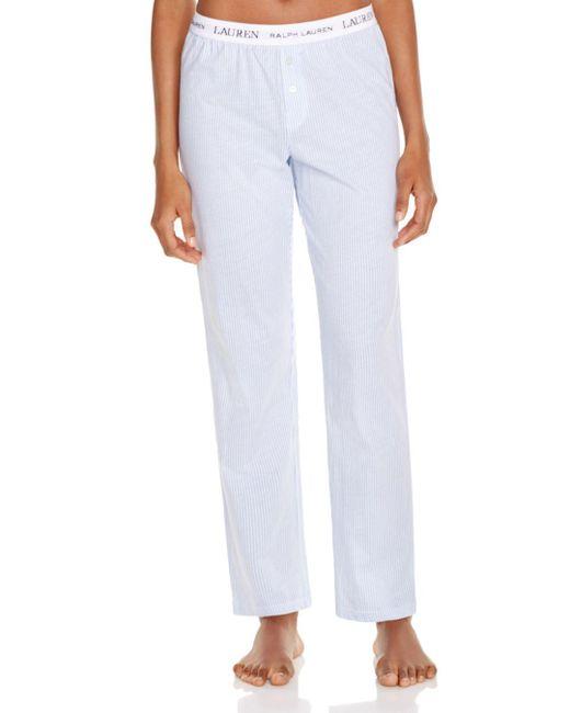Ralph Lauren - Blue Lauren Rib Essentials Pajama Pants - Lyst
