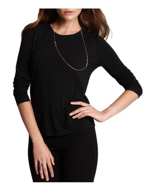 Eileen Fisher | Black Women's Long Sleeve Stretch Silk Jersey Crew Neck Shirt | Lyst
